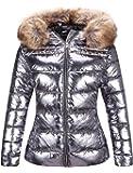 Bellivera Women's Ultra Lightweight Puffer Coat,Metallic Shiny Jacket with Detachable Fur Collar Warmth Winter Outerwear