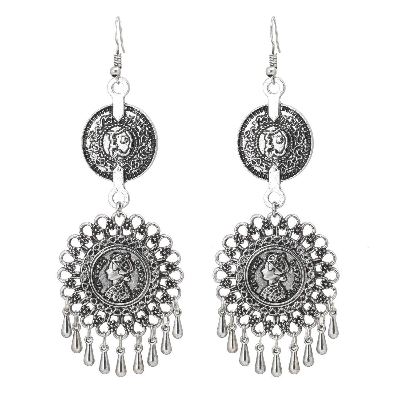 VintFlea Jewellery Oxidized Silver Afghani Tribal Dangler Chandbali Earrings for Girls Fancy Party Wear Earrings for Women