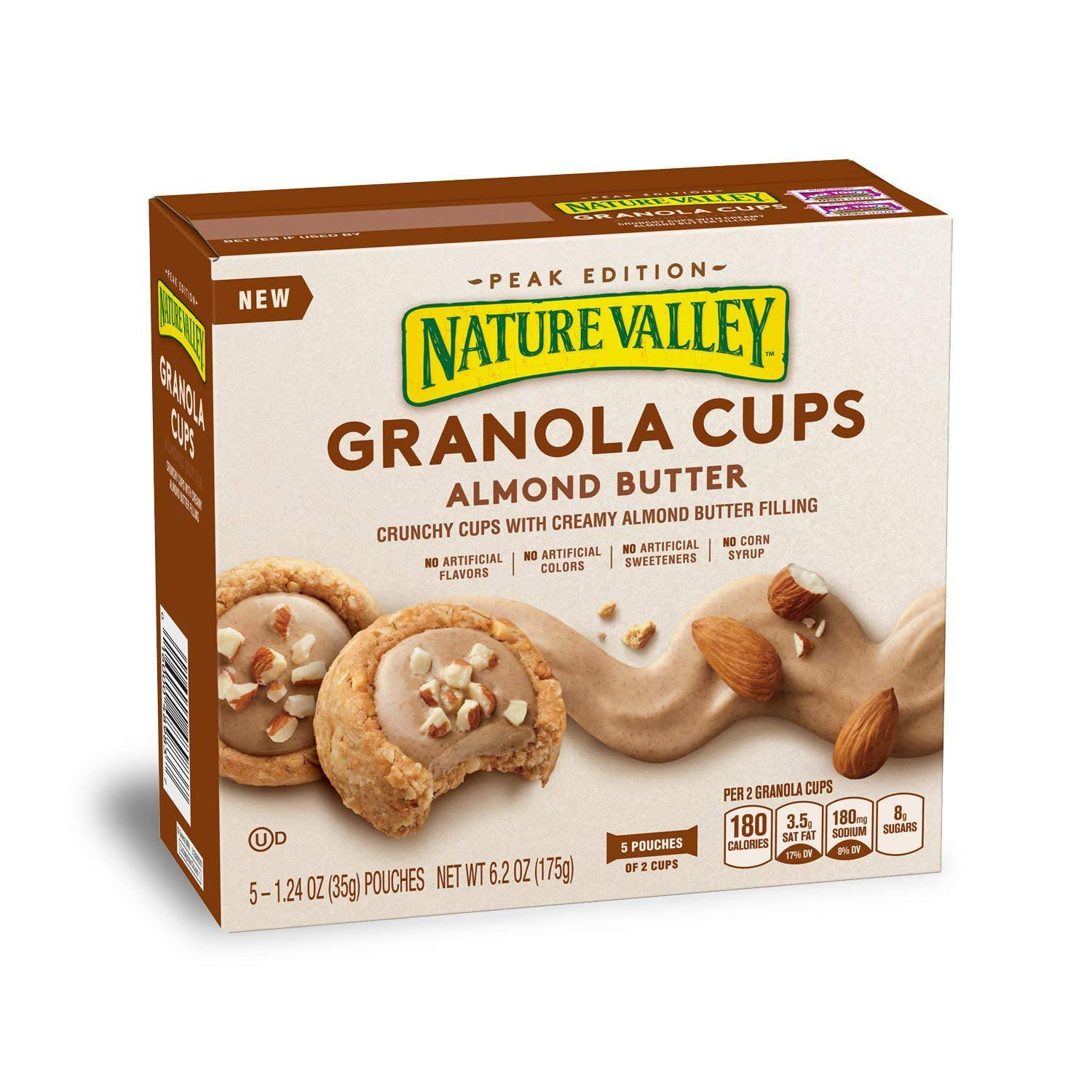 Nature Valley Peak Edition Granola Cups, Almond Butter, 1.24 Ounce, 5 Bars (5 Boxes)