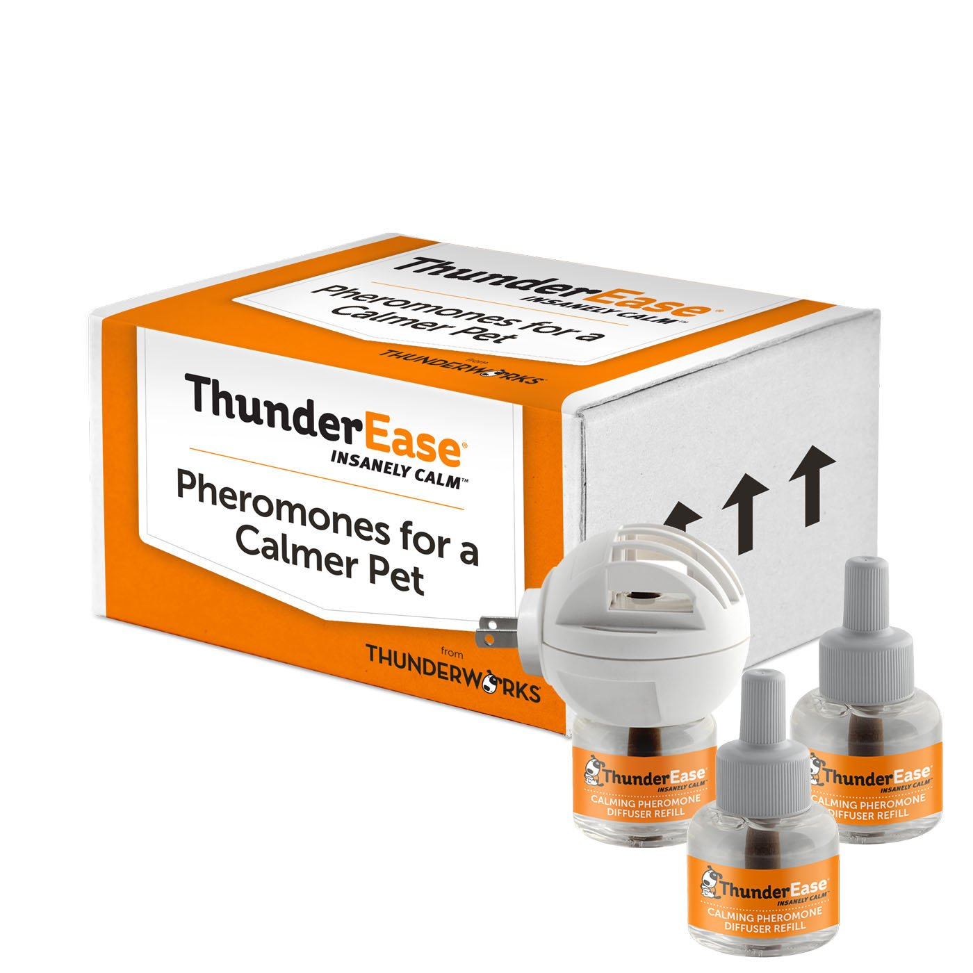 ThunderEase Dog Calming Pheromone Diffuser Kit - Relieve Separation Anxiety, Stress Barking and Chewing, Fear of Fireworks and Thunderstorms (90 Day Supply)