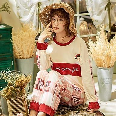 El Pijama para Mujer de algodón de Manga Larga Puede Llevar Traje ...