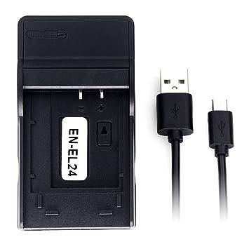 Amazon.com: EN-EL24 Ultra Slim USB cargador de batería para ...