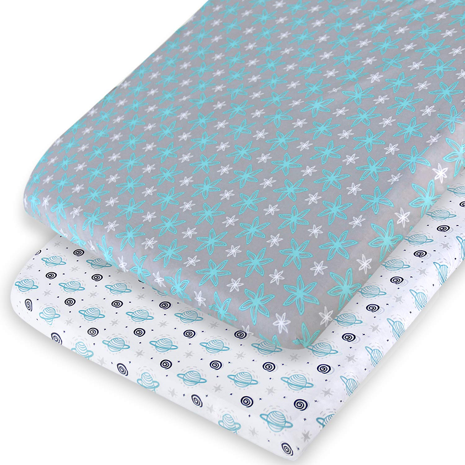 Pack and Play Sheets, 2 Pack Pack n Play Sheets Compatible with Graco Pack n Play/Mini Crib,100% Soft and Breathable Microfiber, Planet & Flower