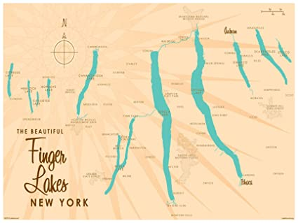 Amazon.com: Finger Lakes New York Map Vintage-Style Art Print by ...