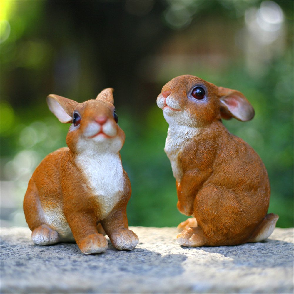 Danmu 2pcs a Set Polyresin Rabbit Statue
