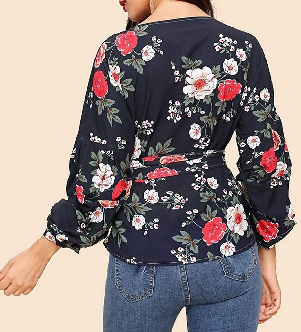Hajotrawa Women Printed Classical Bowknot Puff Sleeve Top V-Neck T-Shirt