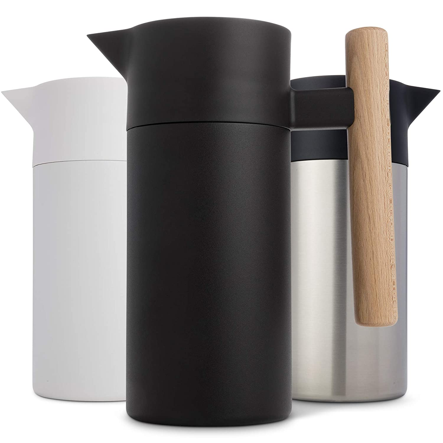 Stainless Steel Thermal Coffee Carafe? - ?Double-Walled? ?Vacuum Insulated? ?Thermos and Beverage Pot ?- ?Compact, Travel-Size? ?Strainer? ?for? Tea, ?Infused Drinks and Water? - 40 Fl oz, Black