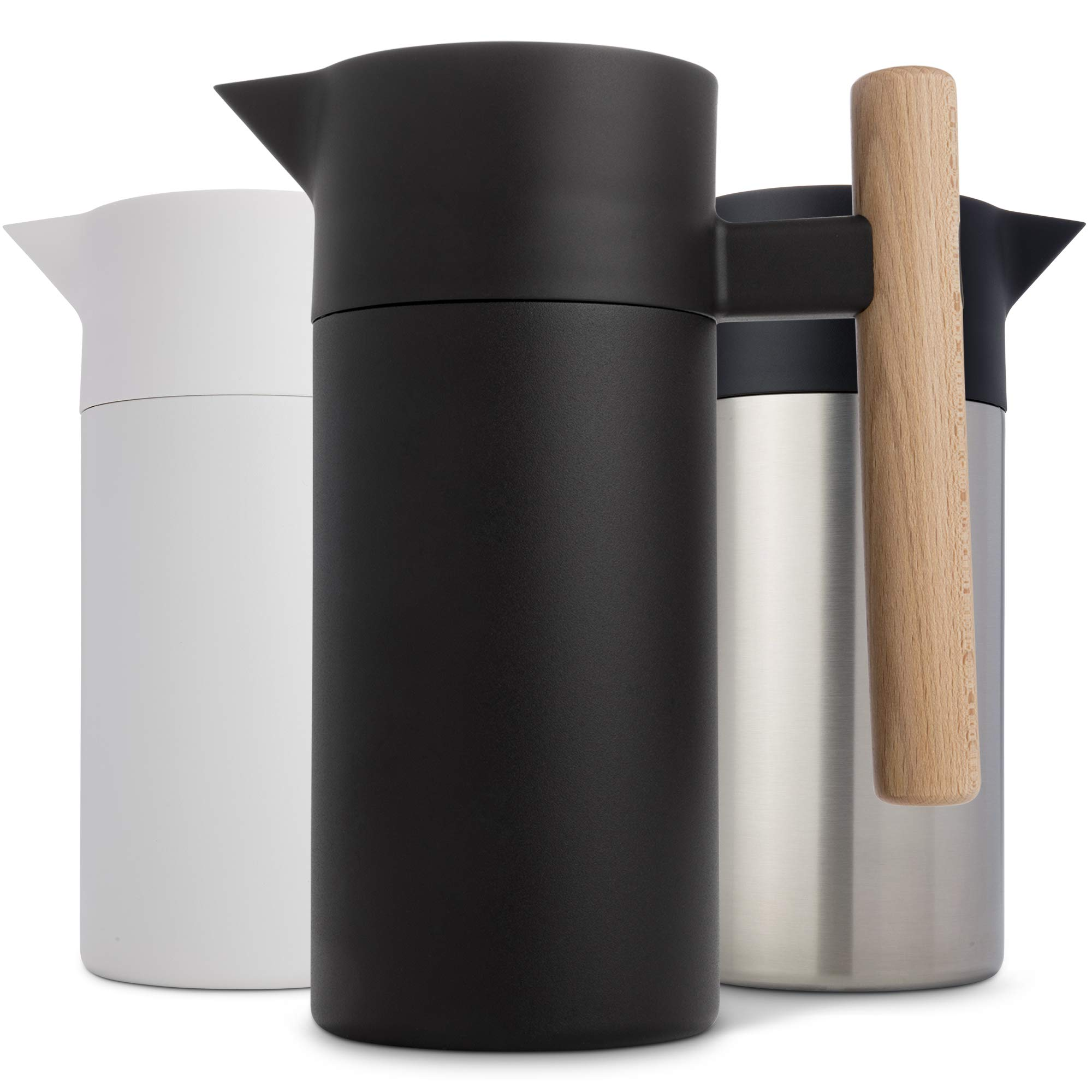 Stainless Steel Thermal Coffee Carafe - Double-Walled Vacuum Insulated Thermos and Beverage Pot - Compact, Travel-Size Strainer for Tea, Infused Drinks and Water - 40 Fl oz, Black