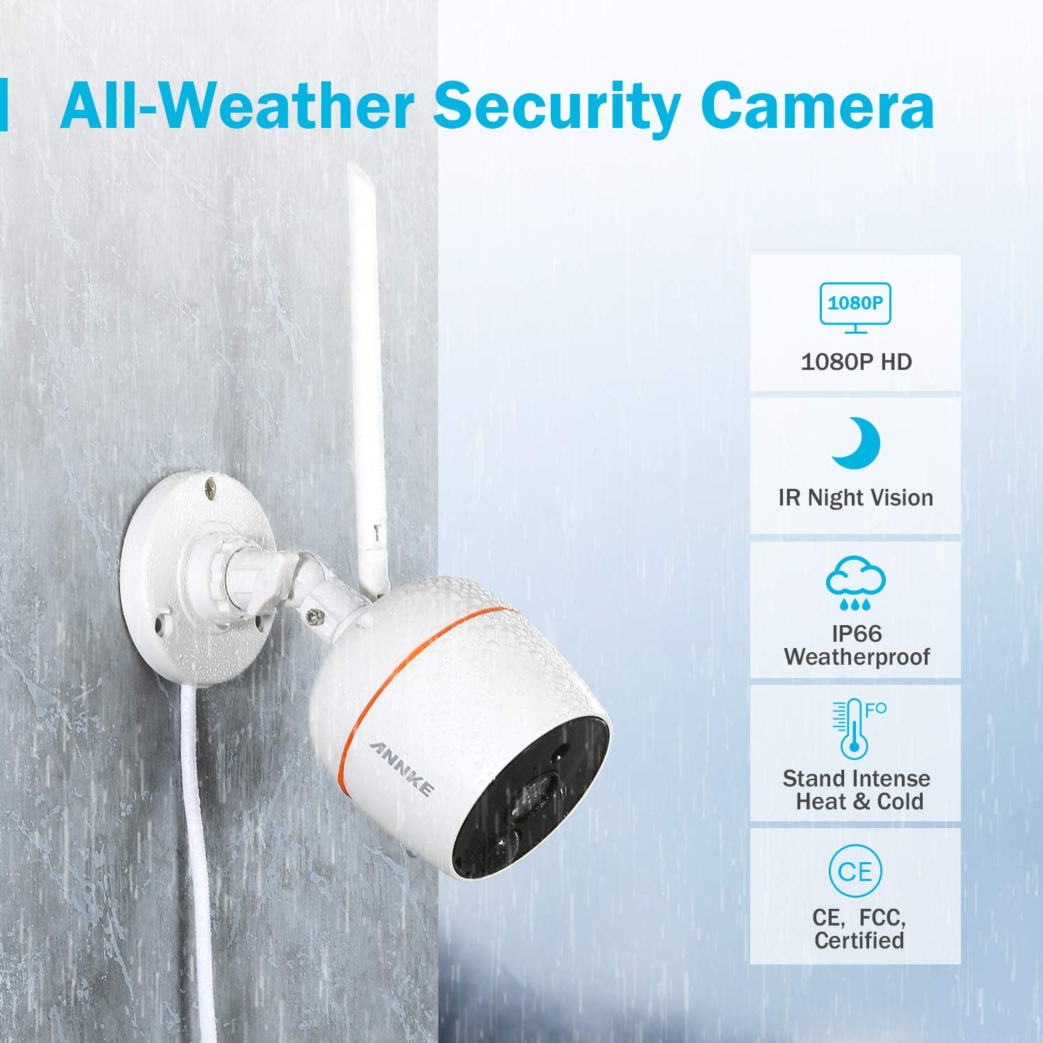 ANNKE Wireless IP Camera, 1080P 2 Pack Home Security WiFi Cameras, Plug and Play, PIR Motion Detection, Two-Way Audio, IP66 Weatherproof Indoor/Outdoor CCTV Camera, Support UP to 128GB TF Card by ANNKE (Image #7)