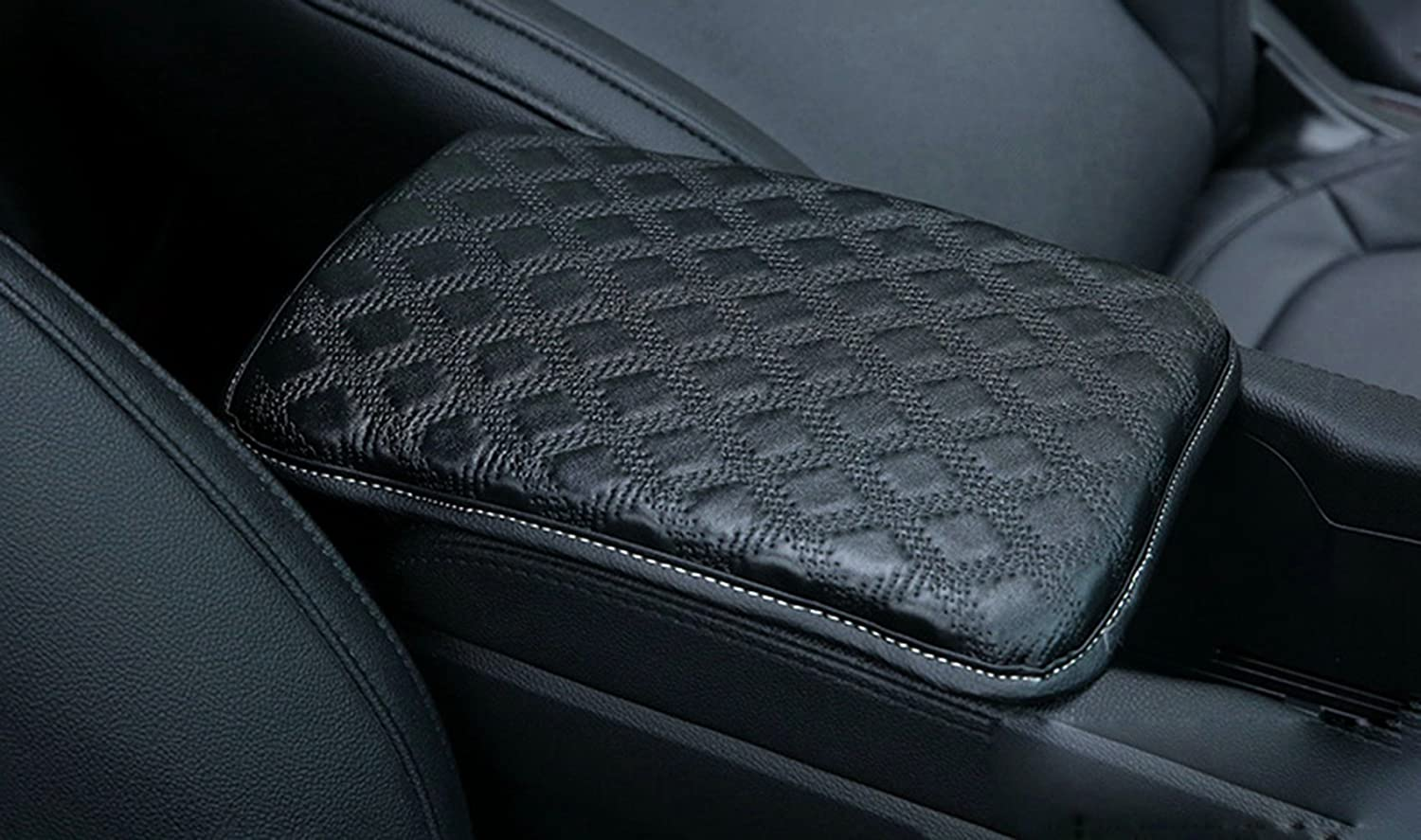 Grey Leather Car Center Console Box Armrest Cushion Cover Arm Rest Pad Universal