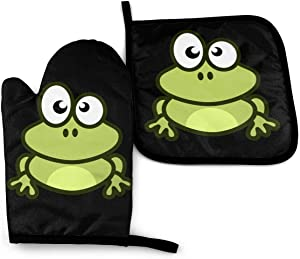 NOT Cute Frog Clip Art Oven Mitts and Potholders (2-Piece Sets)-Extra Long Professional Heat Resistant Pot Holder & Baking Gloves