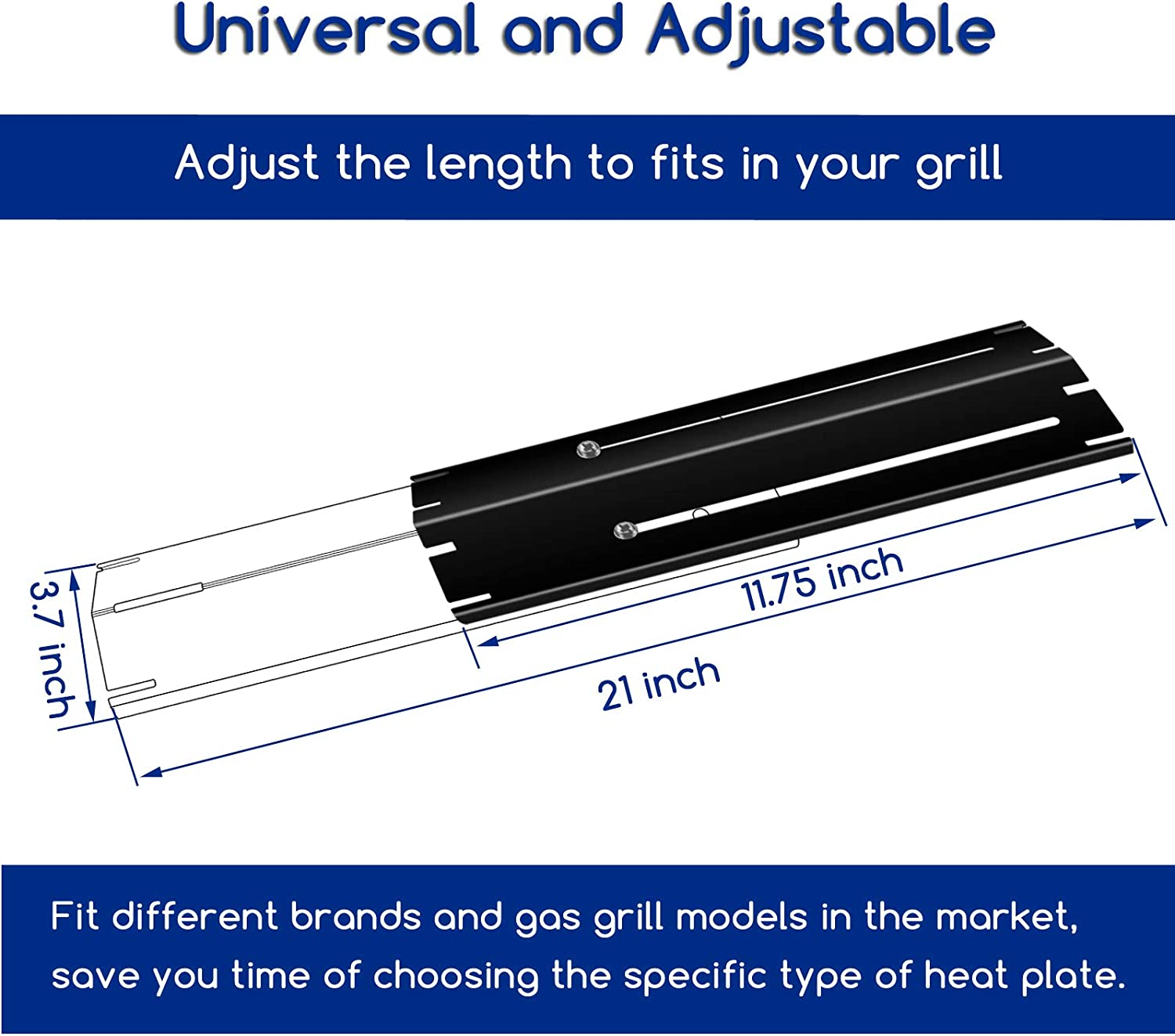 Heat Plates Shield Extends from 11.75 up to 21 Inch Utheer Universal Adjustable Flavor Bars Heavy Duty Porcelain Steel Replacements 1 Pcs Flame Tamer Heat Tent for Brinkmann Charbroil Gas Grill