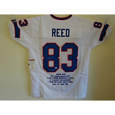 more photos 91145 f3ab4 ANDRE REED SIGNED AUTO BUFFALO BILLS WHITE STAT JERSEY JSA ...