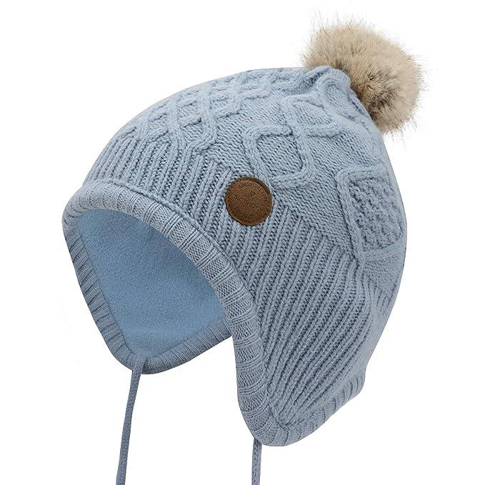 Zando Toddler Baby Winter Hat Soft Warm Earflap Beanies Infant Knit Cute  Caps for Boys Girls 19b996d78f8b