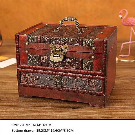 Retro Vintage Style Wooden Jewelry Box Treasure Trinket Storage Case  j