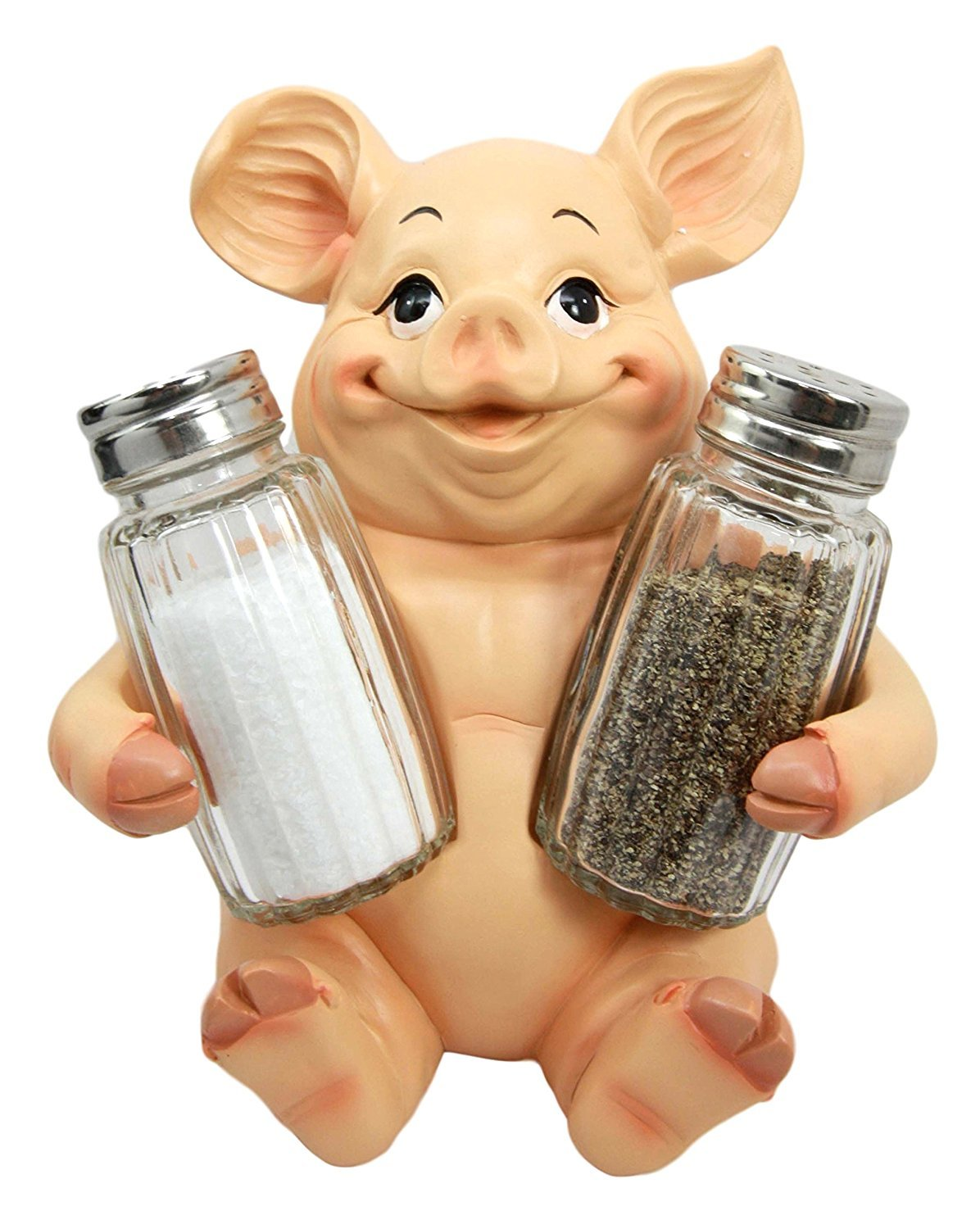 Ebros Animal Farm Cute Babe Pig Porcine Spice Statue Salt And Pepper Shakers Holder Pig Figurine Kitchen Decor Centerpiece Farmers Animal Lovers by Ebros Gift
