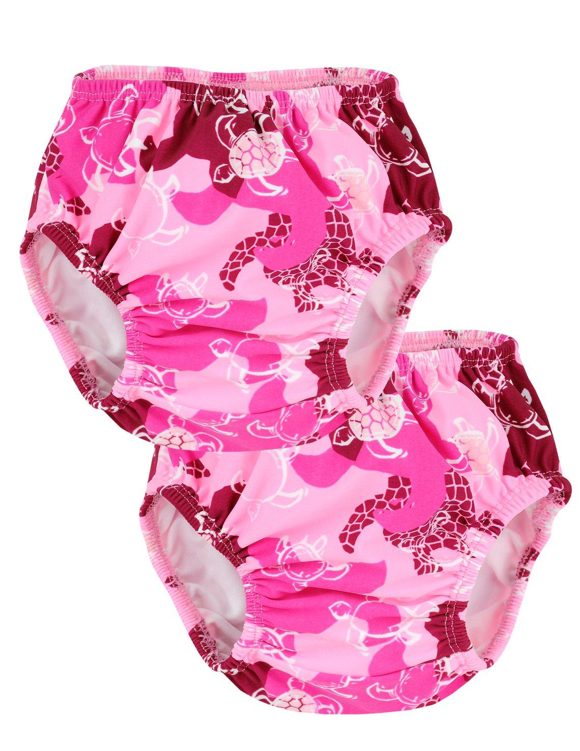 Tuga Girls Reusable Swim Diapers 2-Pack, Peoni, Small