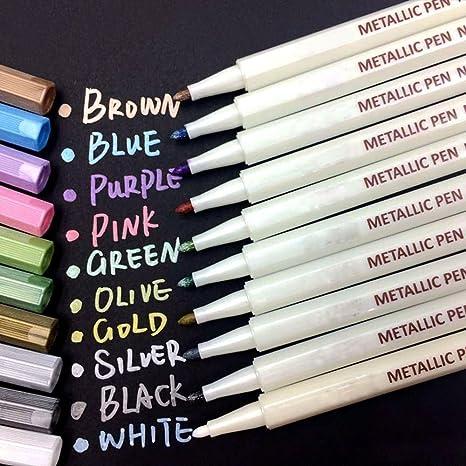 oddis Metallic Marcador Pens, Conjunto de 10 colores metálicas lápiz Marcador para tarjeta Fabricación y