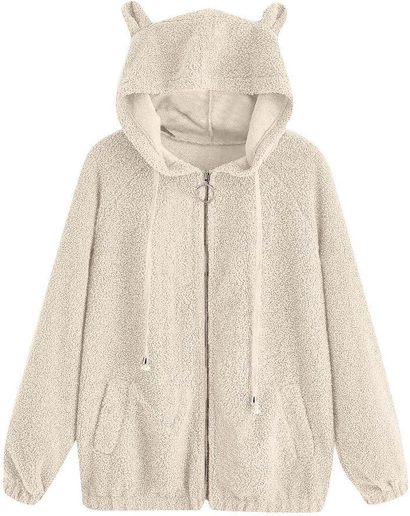 ✦HebeTop✦ Teddy Bear Hoodie Coat for Womens Long Sleeve Fleece Sweatshirt Warm Bear Shape Fuzzy Hoodie Sweater Pullover