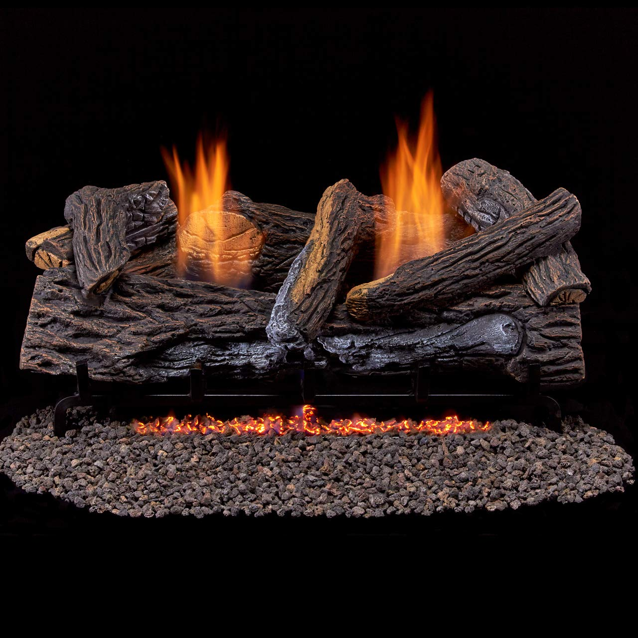 Duluth Forge Ventless Propane Gas Log Set-24 in Split Red Oak 33,000 BTU, Manual Control, 24 Inch by Duluth Forge
