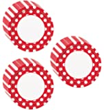 Red Polka Dot Dinner Plates - 24 Pieces