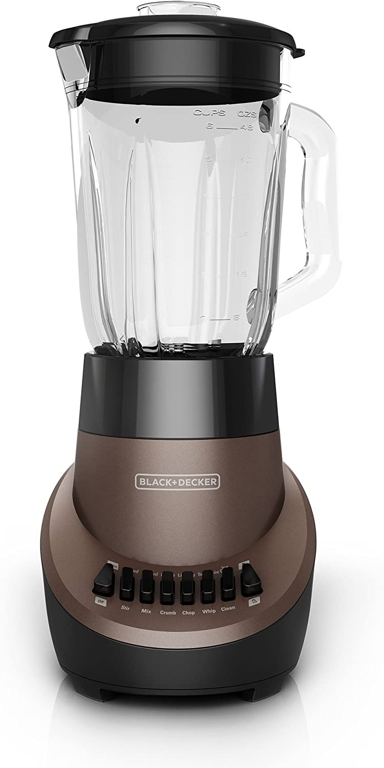 BLACK+DECKER BL1130M FusionBlade Blender with 6-Cup Glass Jar, 12-Speed Settings, Mocha Blender