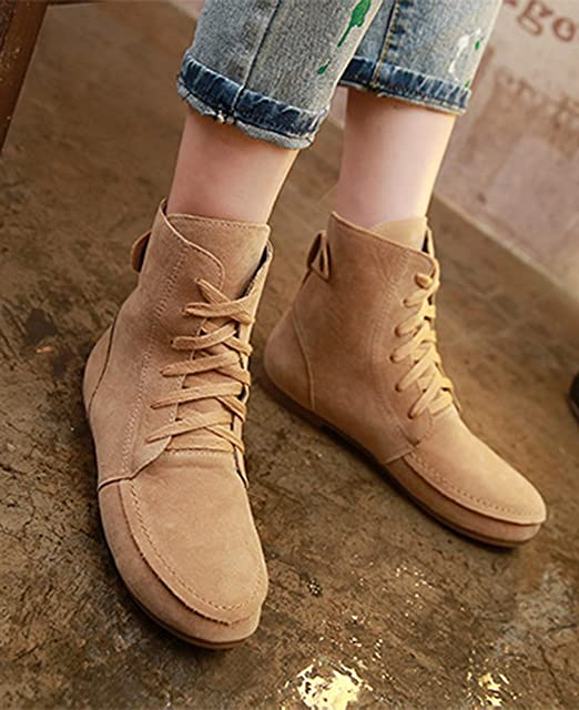 Minetom Femmes Automne Hiver Bottes de Neige Cheville Chaudes Fourrure Laçage Chaussures Plates Bottines À Lacets YO9wZ