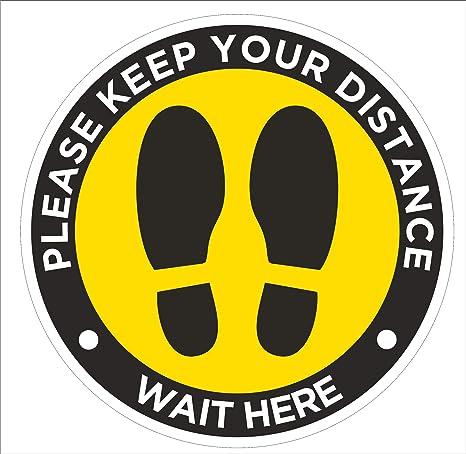 Social Distancing Floor Stickers,5Pack Keep Social Distance Floor Safety Signs Notice Decals Please Wait Here Vinyl Self Adhesive Waterproof Anti-Slip Social Distance Floor Marker 11.8in Round