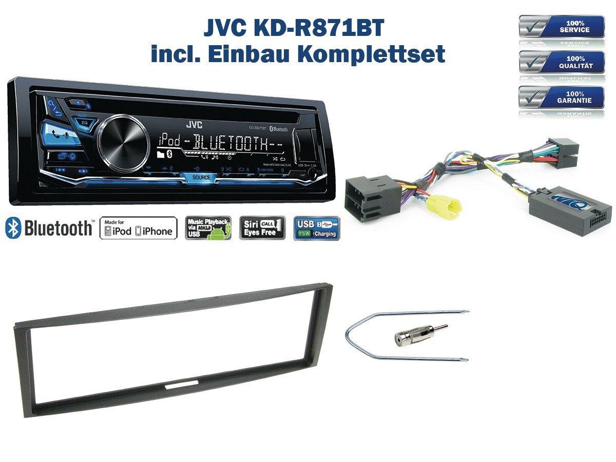 Renault Megane / Modus / Clio Bj. ab 2005 Autoradio Einbauset *Schwarz* inkl. JVC KD-R871BT und Lenkrad Fernbedienung Adapter NIQ RN-15-JV-05-NIQ