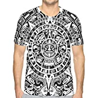 K0k2t0 Men's 3D Printed T Shirts,Mayan Calendar End of The World Prophecy Mystery Cool Ancient Culture Design Print