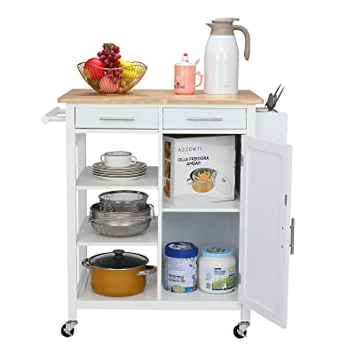 Buy Vingli Kitchen Island Cart 3 Tier Holder 2 Drawer Microwave Rolling Serving Cart Natural Solid Wood Table Kitchen Storage Cabinet Cart With Towel Bar Spice Rack Lockable Wheels Online In Turkey B08zxv4nkn