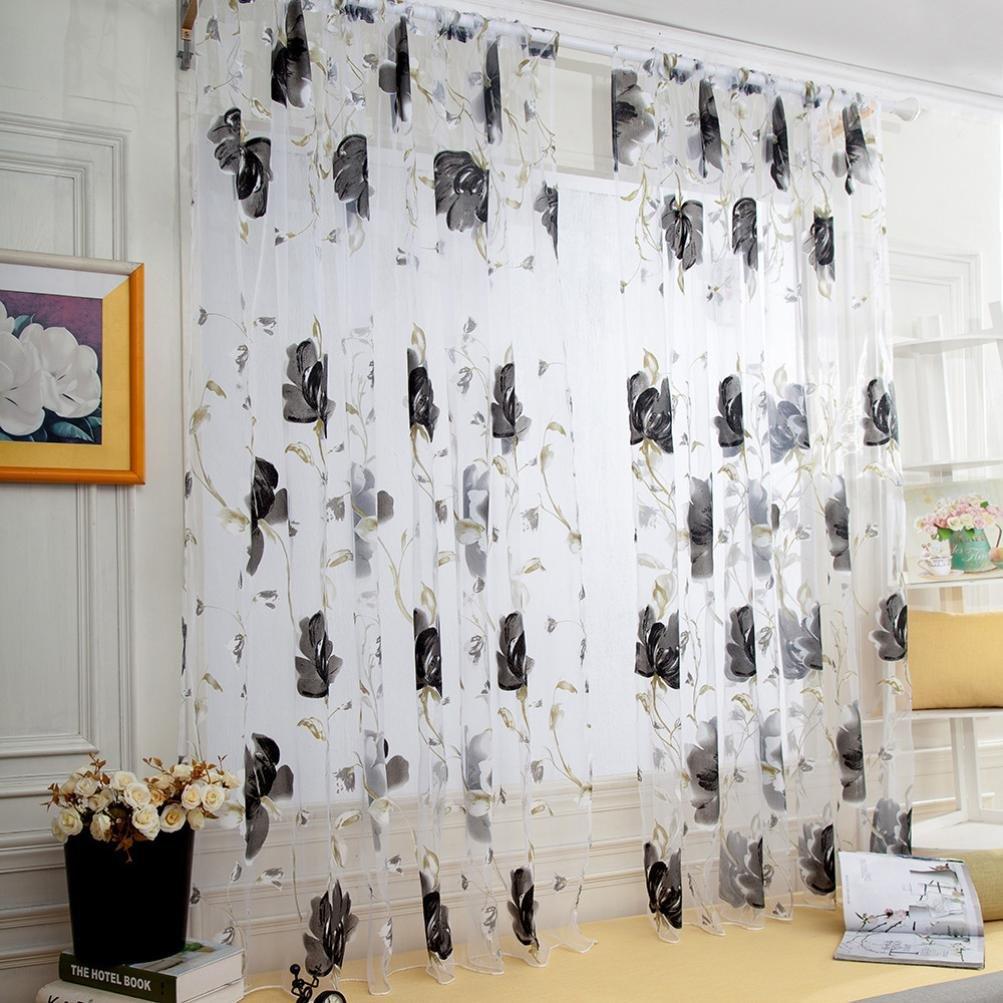 WensLTD Clearance! 1PC Vines Leaves Tulle Door Window Curtain Drape Panel Sheer Scarf Valances (Gray)