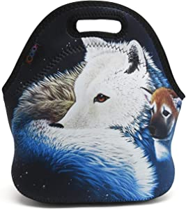 iColor Wolf Design Neoprene Lunch Bag, Kids Thermal Lunch Tote Bag, Lunch Box & Food Container, Insulated Soft Lunchbox, Food Storage Cooler - Great Gift for Boys,Girls (HST-LB-059)