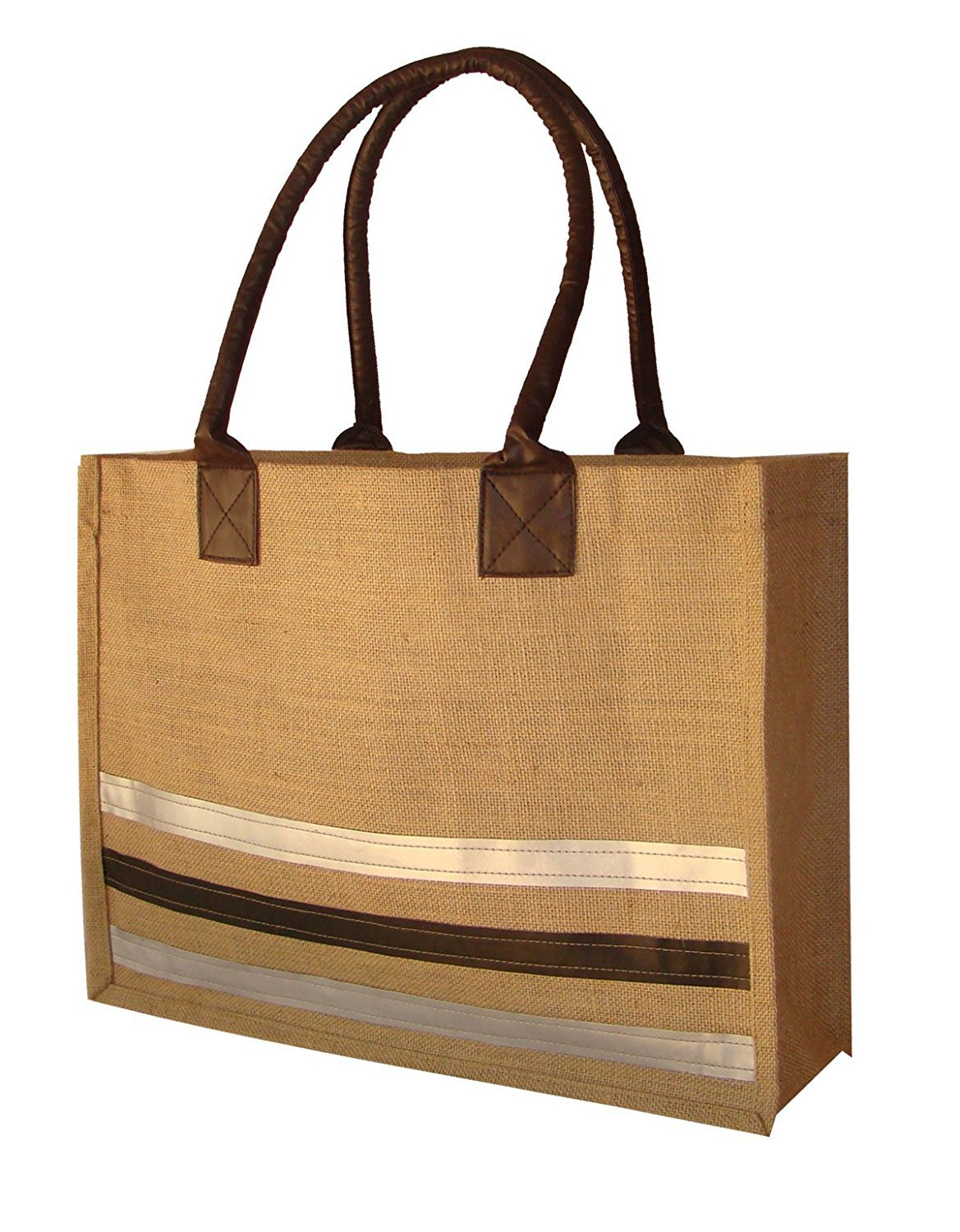 foonty ShopperラミネートNatural Jute Tote Bag with Faux Leather Handlesと内側ポケット18