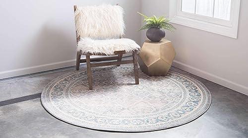 Unique Loom Salzburg Collection Traditional Oriental Gray Round Rug 8 0 x 8 0
