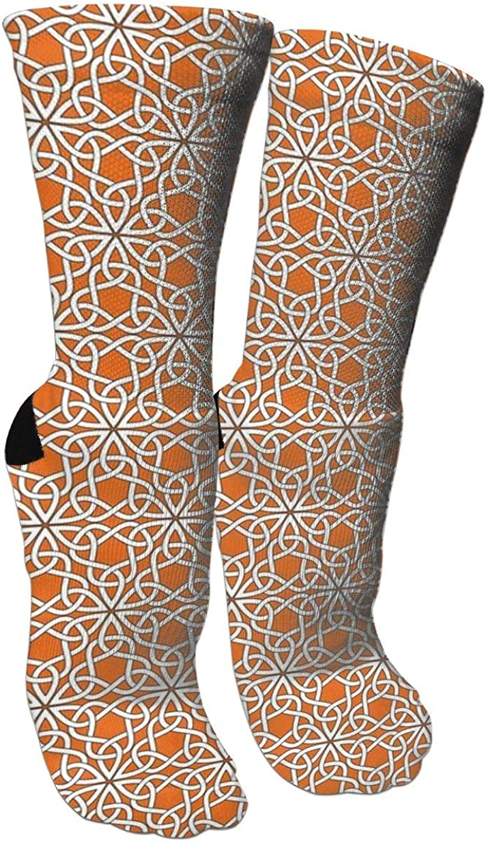 Triangle Knot Orange Crazy Socks Soft Breathable Casual Socks For Sports Athletic Running