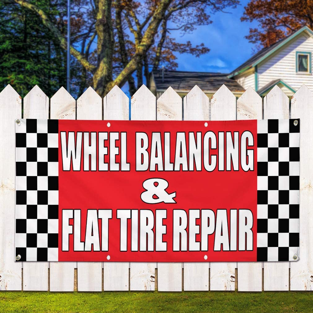 One Banner Vinyl Banner Sign Wheel Balancing /& Flat Tire Repair Body Shop Marketing Advertising 44inx110in Multiple Sizes Available 8 Grommets