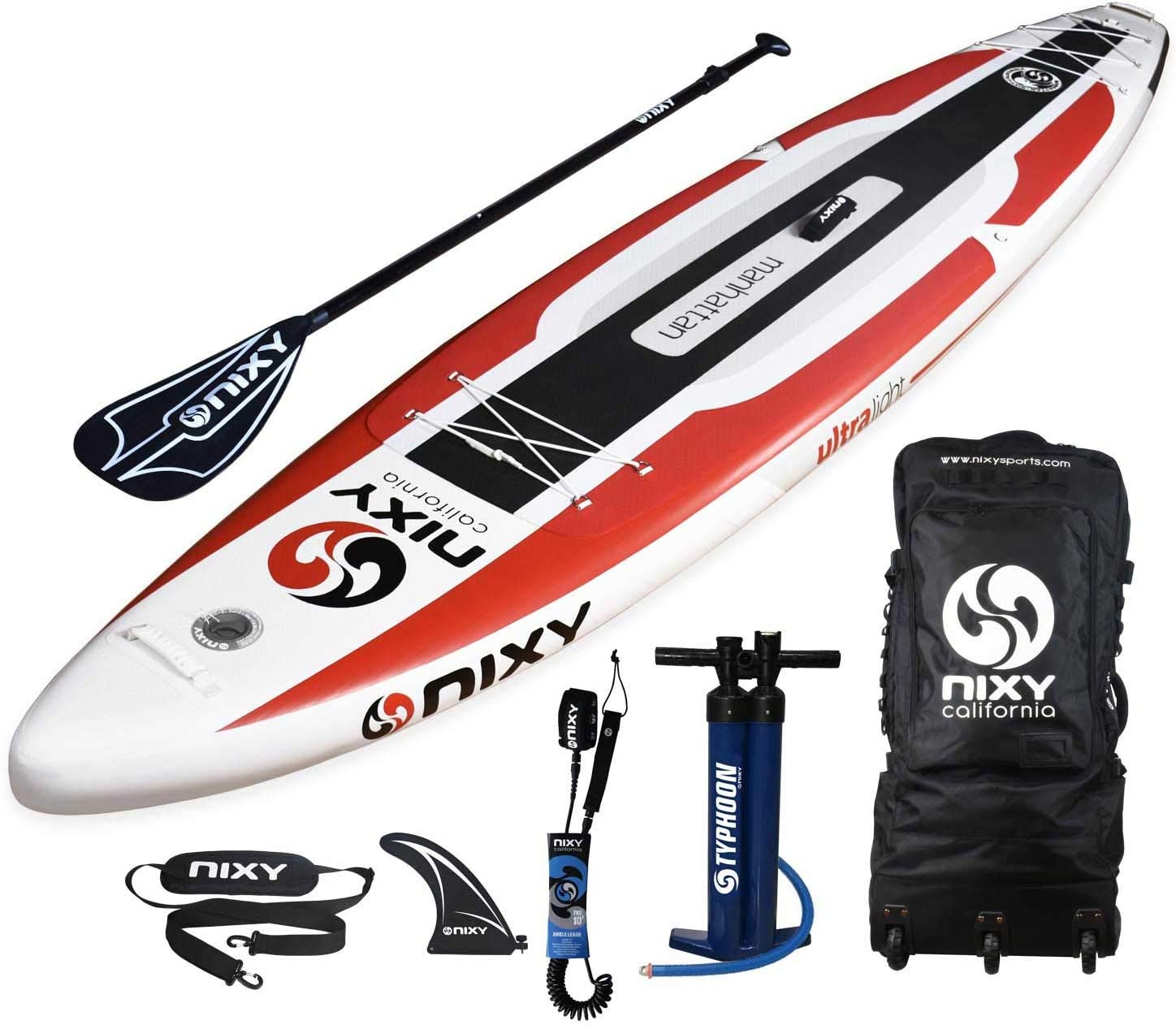 NIXY Manhattan Inflatable Stand Up Paddle Board. Touring and Trekking Premium Lightweight SUP built with the Latest Dropstitch Technology. All Accessories included Paddle, Leash, Pump, Shoulder Strap, Carry Bag 12 6 x 30 x 6 Youth and Adult Outdoor Sports