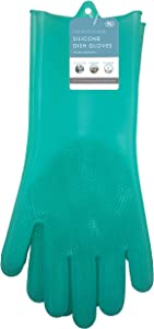 Sophisti-clean Scrubbing Gloves Heat Resistant Kitchen Scrubbers, One Size, Teal