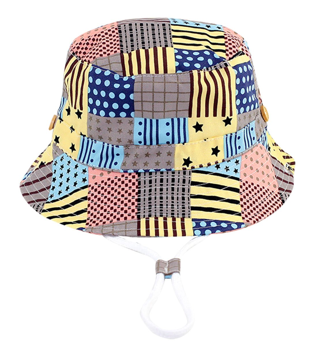 RUHI Kids Baby Boy's Sun Patchwork Protection Bucket Hat With Chin Strap Cotton Lovely Spring Summer Cap Packable 4-8 T