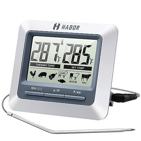 Habor termómetro de cocina plegable con sonda, termómetro alimentos LCD Digital para todos los líquidos