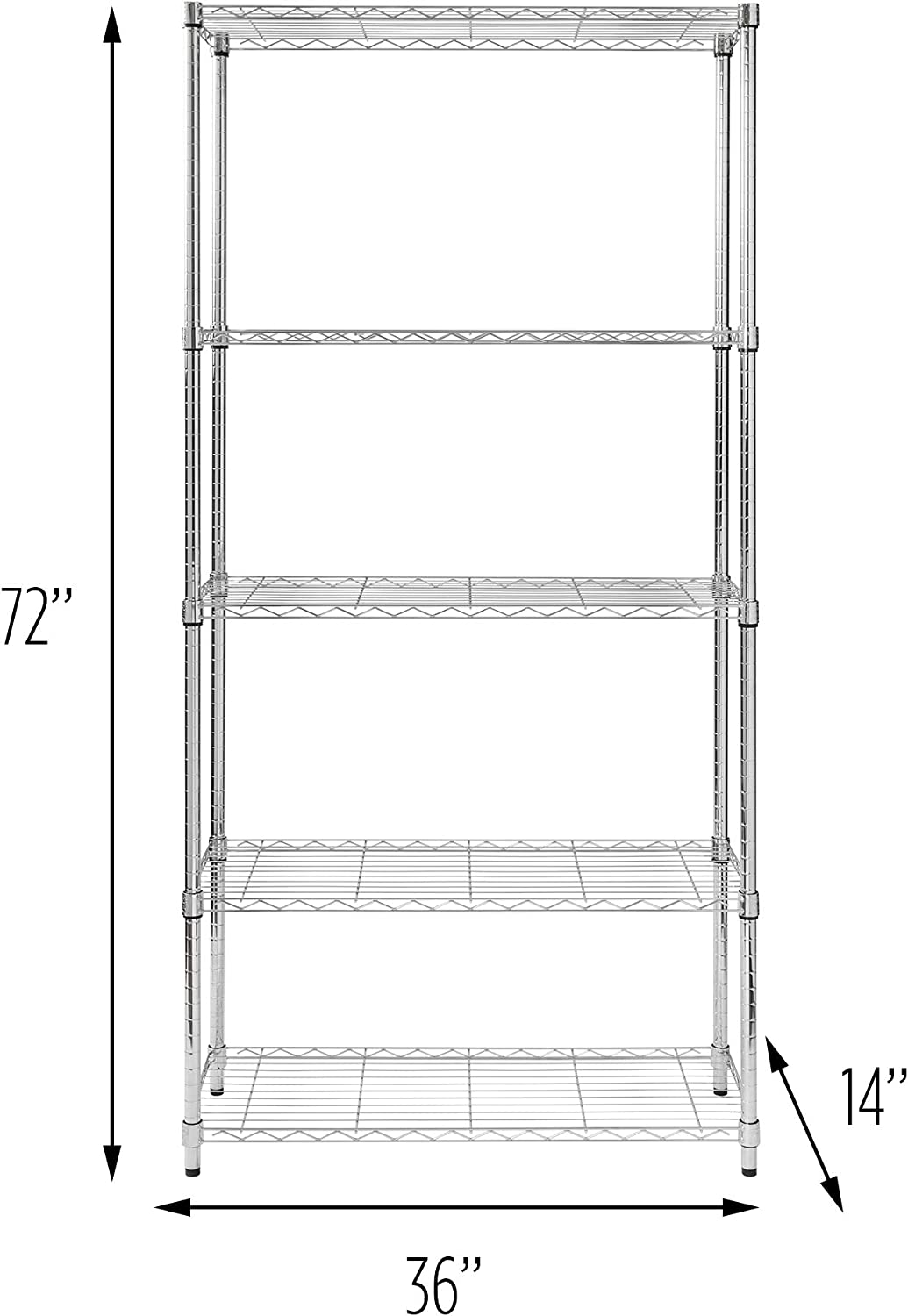 5-Tier Chrome Heavy-Duty Adjustable Shelving Unit with 200-lb Per Shelf Weight Capacity: Home & Kitchen
