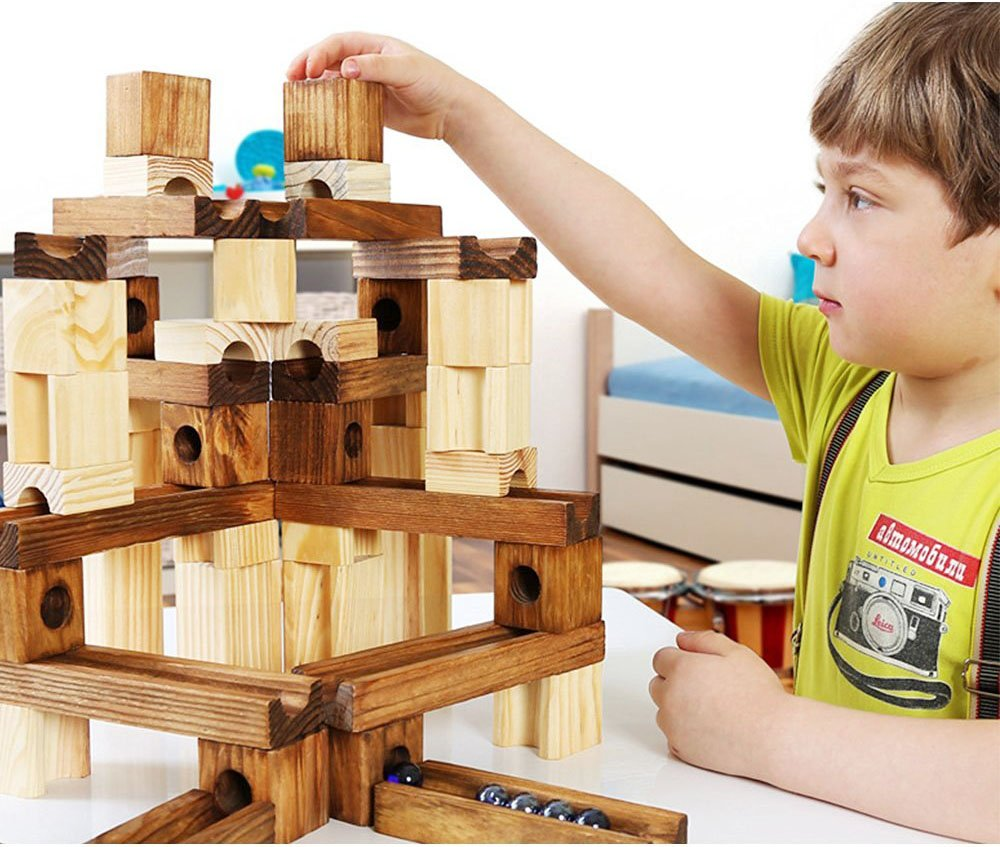 Marble Run Toys 60 Pieces Wooden Classic Ramps Track Building Construction Set for Children Toddler Golden Age Limited