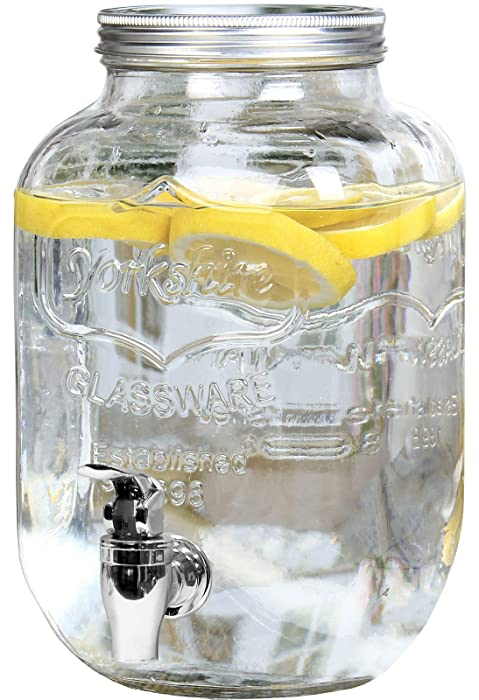 Estilo EST3071 Glass Beverage Drink Dispenser With Leak Free Spigot, 1 Gallon, Clear