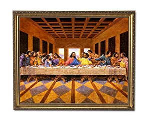 African American Black The Last Supper Jesus Christ Religious Wall Picture Gold Framed Art Print