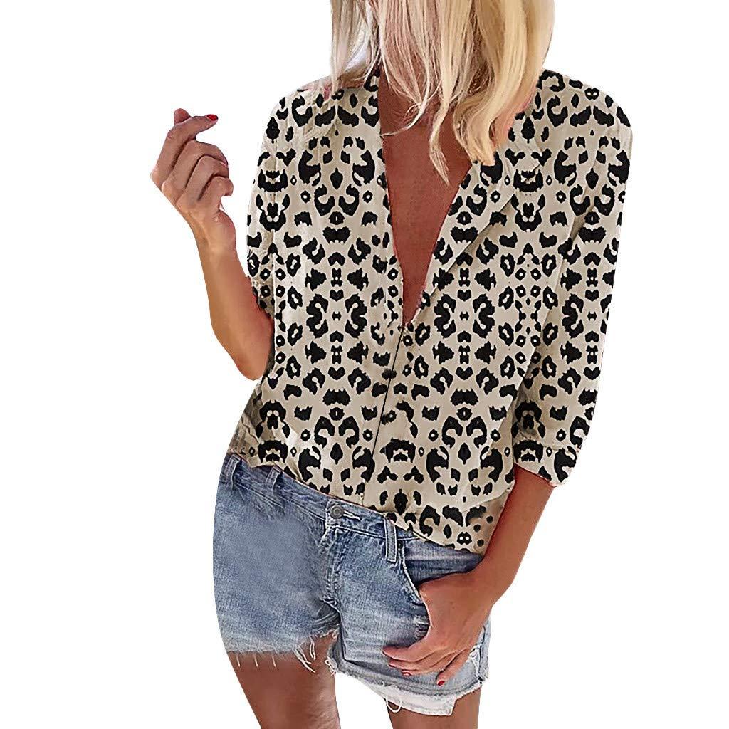 AmyDong Women Leopard Print Long Sleeves V-Neck Loose T-Shirt Blouse Fashion Long Sleeve Tops S-3XL White by AmyDong Women Blouse