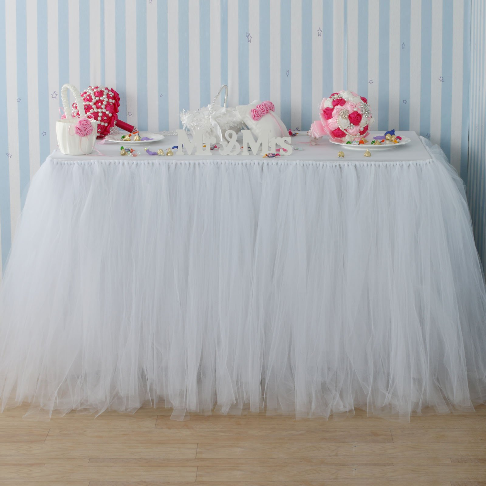 Fivejorya 3.3ft White Tulle Table Skirt Queen Wonderland Tablecloth Skirting Tutu Tablecloth Tableware for Christmas Wedding Baby Shower Birthday Party Cake Dessert Table Decor