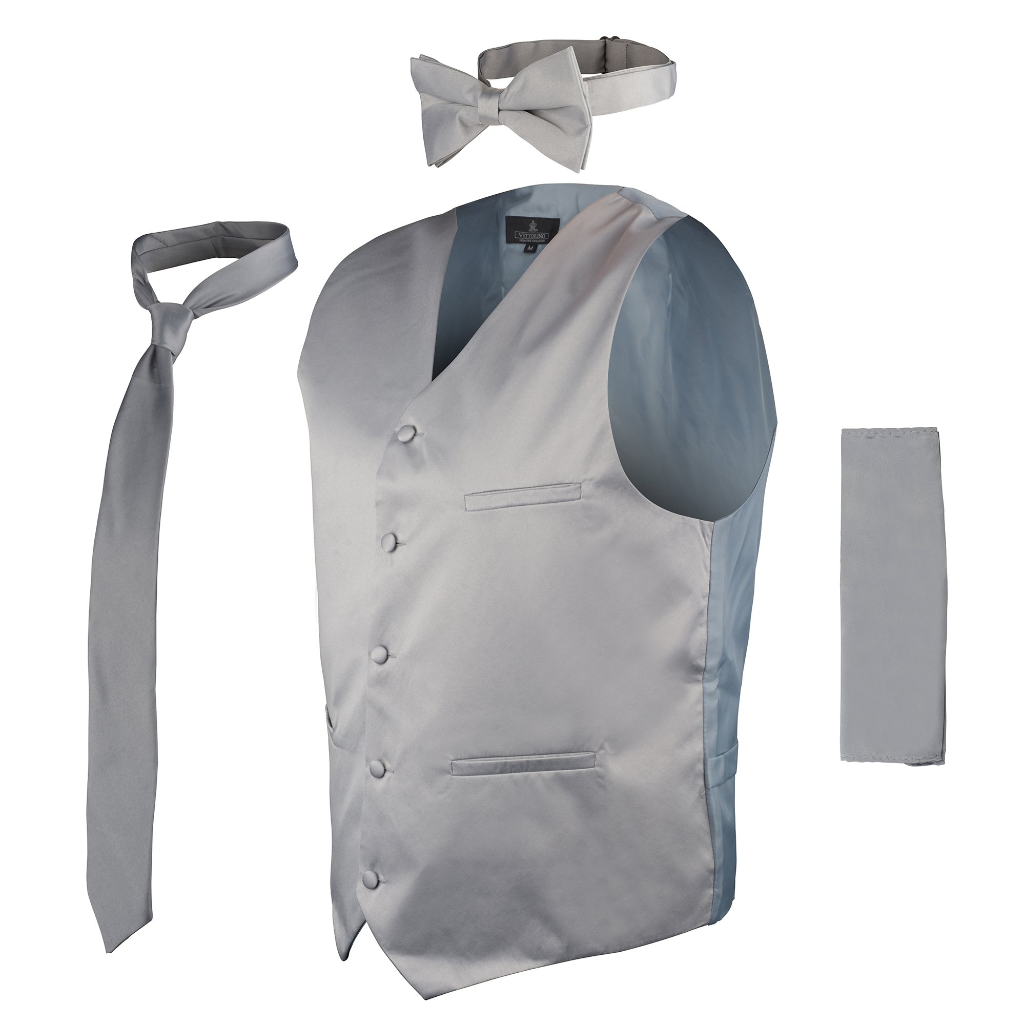 Vittorino's 4 Piece Formal Tuxedo Vest Set Combo with Tie Bow Tie and Handkerchief,Grey,Large