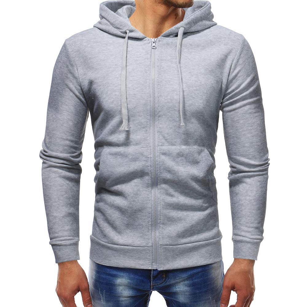 rocicaS Fashion Men's Hoodie Long Sleeve Solid Strappy Zipper Hooded Pocket Sweater Sweatshirt Shirt Pullovers Blouses Tops