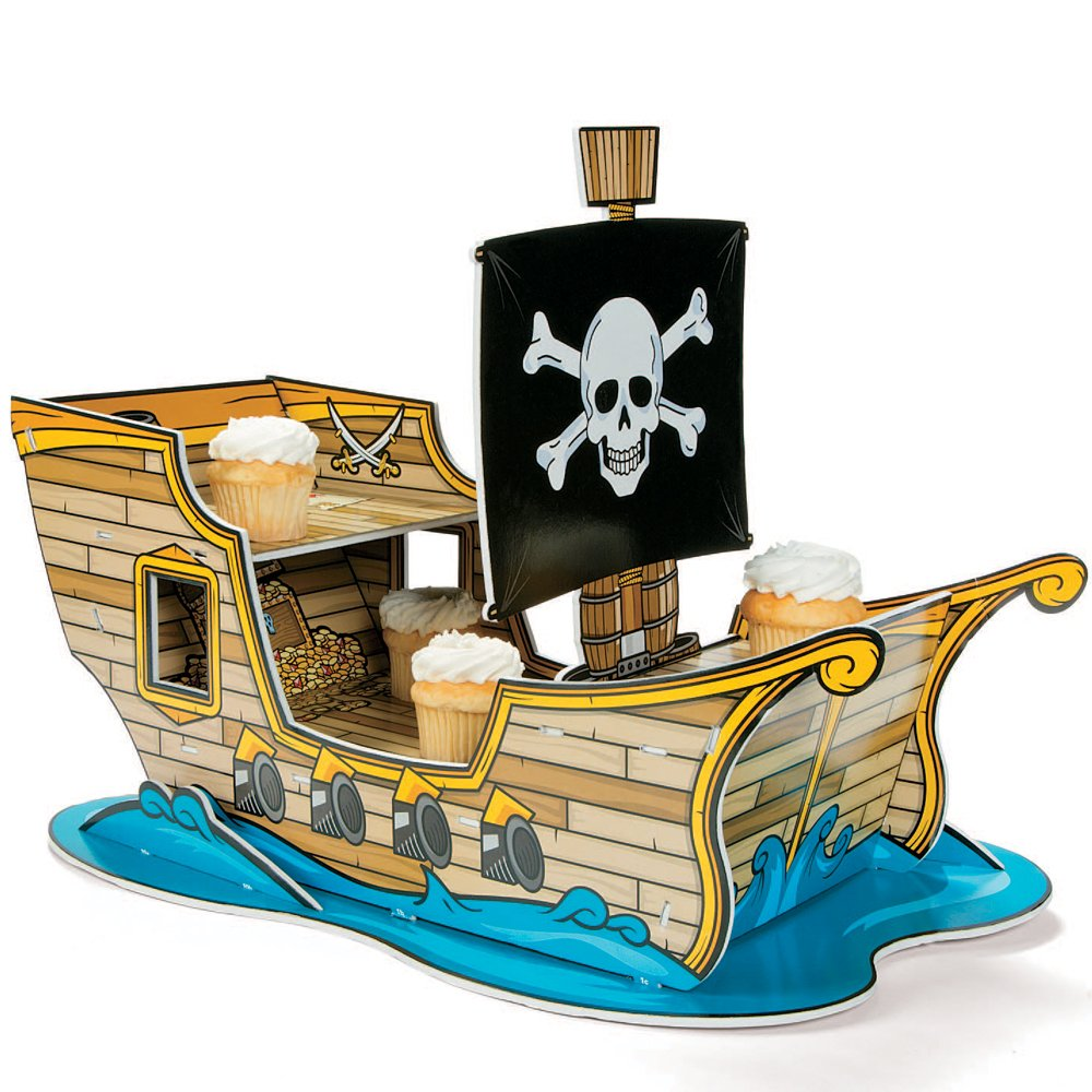 Pirate Ship Cupcake Holder display set